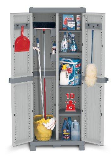 XL Kunststoffschrank Domino Wave - Besenschrank mit Riegel-Mechanismus und vielen Extras! XL Volumen und topp Qualität für Haushalt und Gewerbe! Maße: 70 x 43,8 x 181,8 cm -