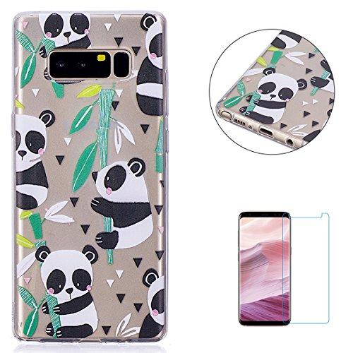 KaseHom Case for(Samsung Galaxy Note 8) Cas de TPU Clair Cristal[Gratuit Protecteur d'écran] Conception Drôle d'anime Ultra Mince Doux Couvercle de Pare-Choc en Caoutchouc-Panda en Bambou