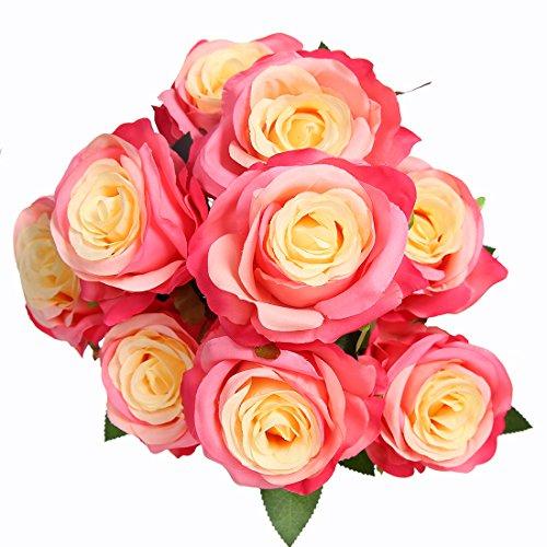 Rosenstrauß von Veryhome mit neun künstlichen Rosen, sehr realistisch als Brautstrauß oder für die Heimdekoration