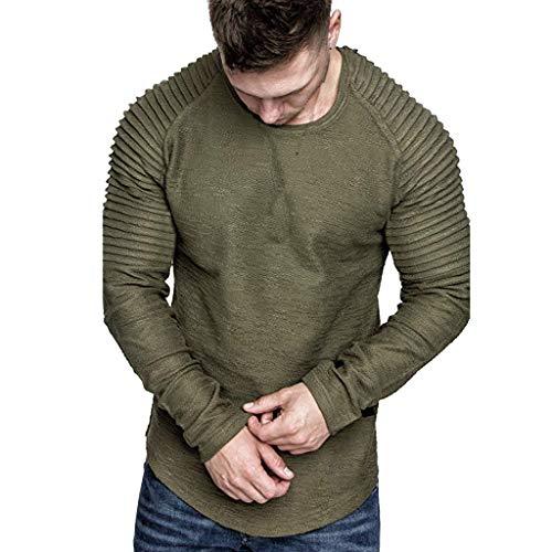 VBWER Herren Herbst Winter Wunderschön Langarm Sweatshirt Männer Sweatshirt Kapuzenpullover Pullover Sweater mit Rundhalskragen aus Hochwertiger Baumwollmischung Männer