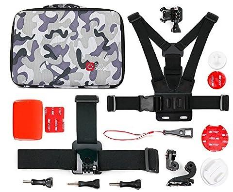 Für die GoPro Hero5 Black Action Kamera + Zubehör - Maßgefertigter Koffer inkl. Zubehör der Marke DuraGadget - Camouflage