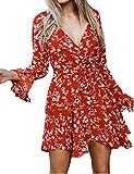 Damen Kleid Teenager Mädchen Langarm V Ausschnitt Trompetenärmel Boho Flowy Strand Blumen Kleider Elegant A-Linie Herbstkleid Partykleid Minikleid mit Gürtel (Rot, M)