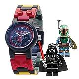 LEGO–Reloj LEGO Star Wars Dark Vader y Boba Fett con figuras–rojo y negro