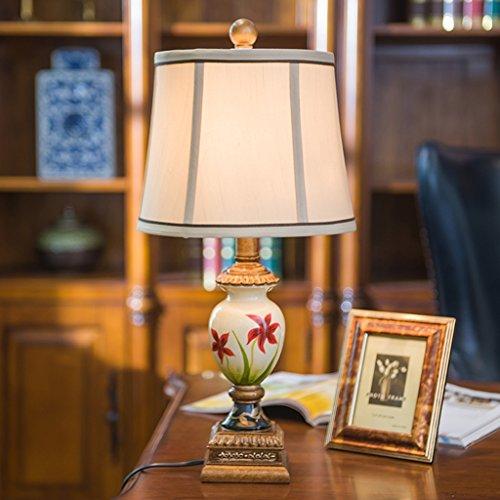 ZENGAI Amerikanische Kreative Tischlampe Schlafzimmer Nachttischlampen, im europäischen Stil Retro Wohnzimmer Study Tischlampe Hochzeitshotel Tischlicht ( Farbe : Beige )