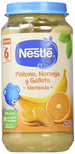 Nestlé Naturnes - Merienda Plátano, Naranja y Galleta - A partir de 4 meses - 250 g - [Pack de 6]