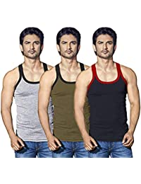 44c216676f9e LUX Mens 100% Premium Cotton Grey, Brown and Black Gym Rib Sleeveless Vest  Innerwear