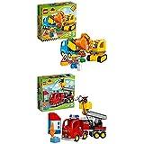 Lego Duplo 10812 - Bagger und Lastwagen, Ideales Geschenk für 2 Jährige + Löschfahrzeug, Spielzeug für drei Jährige Kinder