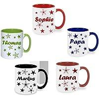 Tasse Kaffeebecher Kaffee Tasse mit Namen bedruckt Namentasse mit Wunschnamen Sterne.Geschenk Geburtstag personalisiertes Geschenk