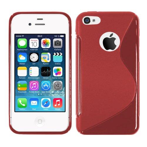 Apple iPhone 4 - TPU Schutzhülle S-Style S Design Case Schutz Cover Etui Hülle in Pink Rot