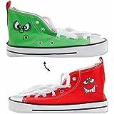Faulenzer Schuh grün/rot: Schüleretui in trendigem Schuh-Look mit lustigen Gesichtern