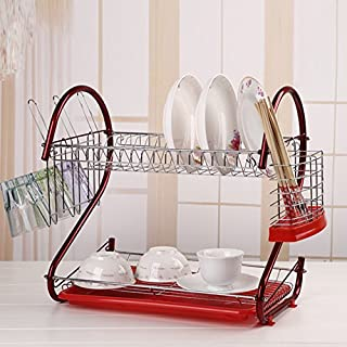 Befied 2 Birds Dish Drainer with Drip Tray and Cutlery Holder Drainer Stainless Steel 17 Plate 42 x 24.5 x 39.5 cm Blue/Red red