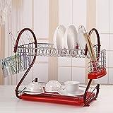 Acecoree Abtropfgestell Geschirrtrockner, 2 Etagen aus Edelstahl Geschirrabtropfkorb, 44x25x38cm Geschirrständer abtropfregal für Teller Tassen und Besteck