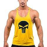 PHENVIVO Homme Vest Top sans Manches Confortable DÉBardeur Fitness Haut Décontractée T-Shirt Sport Blouses Imprimer Tête De Mort Gilet