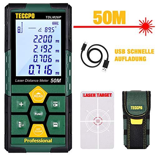 Laser Entfernungsmesser 50m TECCPO, USB, 30 min Schnellladung, Elektronische Winkelsensoren, 99 Daten, 2,25-Zoll-LCD-Hintergrundbeleuchtung, Entfernungsmessung, Fläche, Volumen, Stativ, IP54, TDLM26P