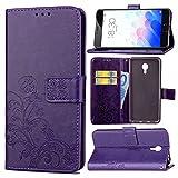 Guran Funda de Cuero PU para Meizu M3 Note Smartphone Función de Soporte con Ranura para Tarjetas Flip Case Trébol de la suerte en Relieve Patrón Cover - Púrpura