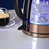Tower T10021 Illuminated Glass Kettle, 1.7 Litres, Rose Gold