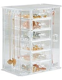 Beautify Jewellery Organiser Clear Acrylic Storage Box with 6 Drawers