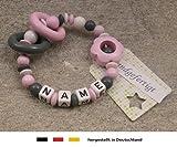 Baby Greifling Beißring geschlossen mit Namen | individuelles Holz Lernspielzeug als Geschenk zur Geburt & Taufe | Mädchen Motiv Blume in rosa