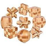 Gracelaza Denksportaufgaben Cube - Knobelspiele Set - Bambus spielzeug - 3D Puzzle - Geduldspiel aus Bambus - Ideal Mind Spielzeug und Geschenk für Junge und Mädchen
