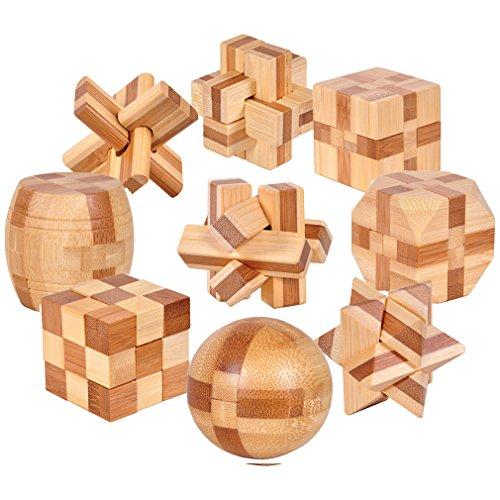 Gracelaza 9 Piezas Juguetes Rompecabezas de Madera Caja Set - IQ Juguete Educativo - 3D Brain Teaser Puzzle de Madera - Juego Ideales y Regalos para Niños y Adolescentes