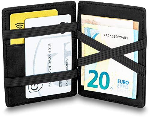 GenTo® Magic Wallet Vegas - TÜV geprüfter RFID, NFC Schutz - Geschenk für Damen und Herren | Design Germany (Schwarz)