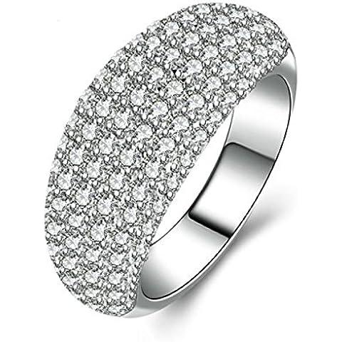 (Personalizzati Anelli)Adisaer Anelli Donna Argento 925 Anello Fidanzamento Incisione Gratuita Arched Anello Diamante Pave