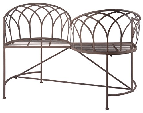 Esschert Design Tête-à-tête Bank aus Metall, 115 x 73 x 79 cm, Sitzbank, Gartenbank, 2 Sitzplätze, in klassischer Optik, sehr stabil - 2