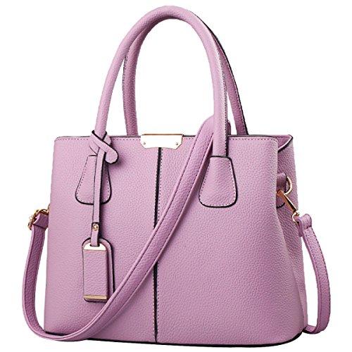 Handtaschen Schultertaschen Multi-Pocket-Reißverschluss Umhängetasche Business Taschen Leder Umhängetasche Für Frauen,Purple-M