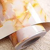 FAVOLOOK Dekorative Selbstklebe Folie Abziehen Stick Tapete Marmor Effekt Kontakt Papier Rolle für Raum Wand Decor (59,9x 49,8cm), Gelb, Style 2