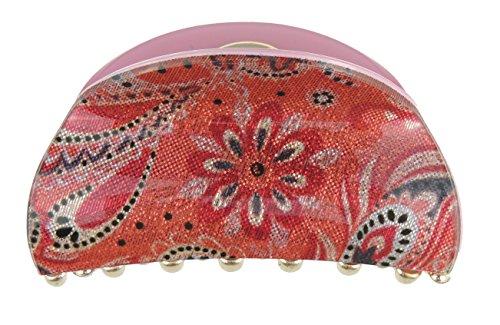 Pour femme 6.5 cm Paillette Imprimé cachemire ovale Griffe de cheveux Clamp