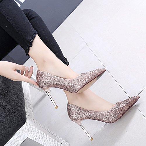 Sfsyddy-shining Cristal Chaussure De Mariage Haut Talon Chaussures 9cm Chaussures Au Printemps Et Automne Chaussures Talon Chaussures Banquet Champagne Couleur