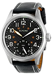 Limited Edition Glycine KMU 48 Steel Mens Watch Manual Wind Black Dial 3889-19