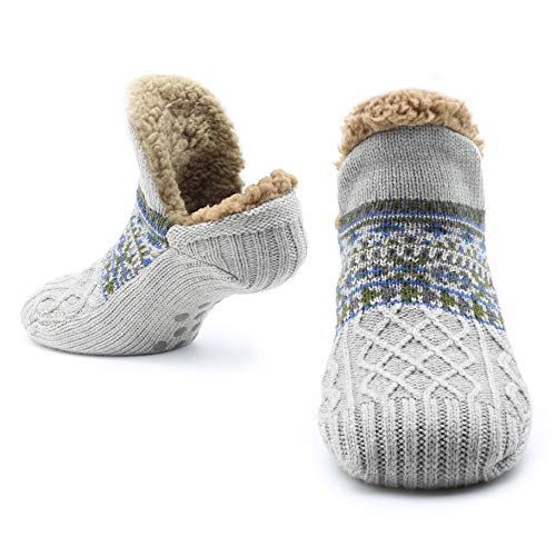 Slipper Fluffy Socks for Women Men Heat Holding Sock Knitted Socks Wool Sherpa Fuzzy Bed Slippers Size 5-8 Non Slip (Light Grey)