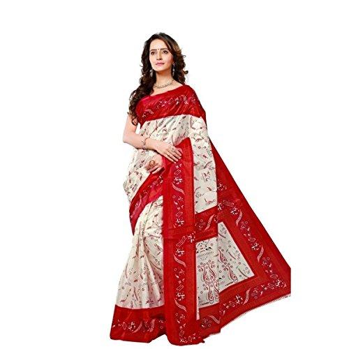 Triveni Womens Silk Printed Everyday Wear White Colour saree with Blouse -TSKJ13355