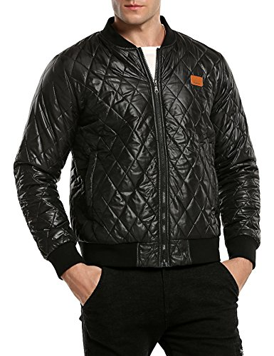 Coofandy Herren Bomberjacke Steppjacke Diamond Winter Zipper Outdoor Jacke - 4