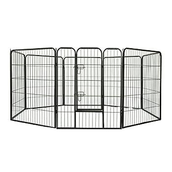 Parc Enclos pour Chiens Choits Animaux de Companie 8 Pièces 80L x 100Hcm Acier Noir