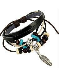 A Retro-Adjustable Jewelry Temperament Leaves Pendentif GéOméTrique Bracelet En Cuir