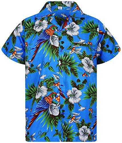 V.H.O. Funky Hawaiihemd, Kurzarm, Kirsch Papagei, blau, 11XL -