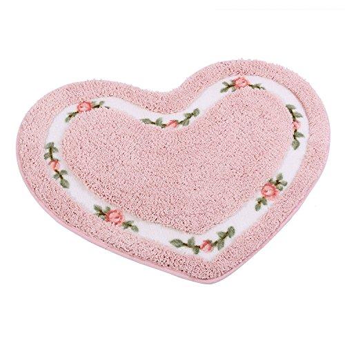 JSJ_CHENG Little Oval Mikrofaser Non-Slid Rose Floral Bad Küche Teppiche und matten die Sauberlaufmatten, Mikrofaser, Rose, Heart Shape 19.6-inch by 23.6-inch Die Rosen Küche