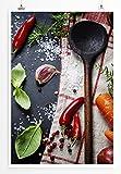 EAU ZONE Home Bild - Food-Fotografie – Holzlöffel mit Gemüse- Poster Fotodruck in höchster Qualität