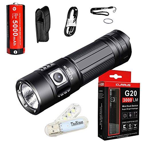 Klarus G20 Taschenlampe CREE Next Gen xhp70 N4 LED 3000 Lumen Wiederaufladbare Taschenlampe dual-switch Mini Suche Licht mit Wiederaufladbare 5000 mAh 26650 Li-Ion Akku + thenines USB-Light