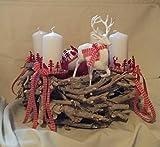 Weihnachten Adventskranz ca 35 cm Kranz Naturkranz mit Kugeln und Hirsch weiß 4 Kerzen weiß incl. 2 Kerzen gratis IW18