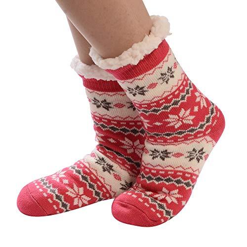 YWLINK Damen Teppichsocken Winter Warm Herzform Drucken Baumwollsocken Dickere Anti Rutsch Bodysocken