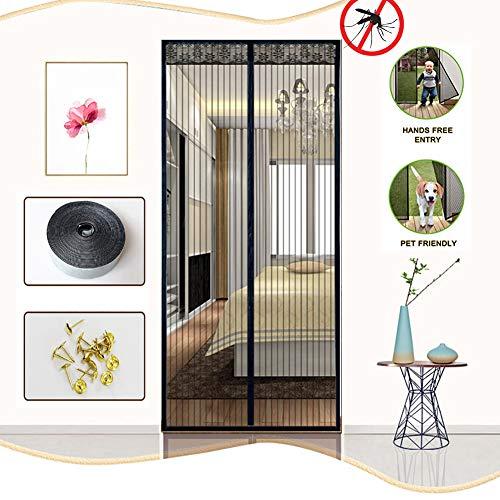 HEHEDA Fiberglas Magnet Fliegengitter Tür, Ideal für Balkontür Terrassentür Wohnzimmer Ohne Bohren, Magnet Fliegengitter Tür Insektenschutz,Black,90x190cm(35x75inch)