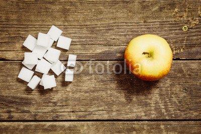 druck-shop24 Wunschmotiv: Zucker im Vergleich zu Apfel #123385617 - Bild als Klebe-Folie - 3:2-60 x 40 cm/40 x 60 cm