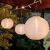 Lights4fun Lot de 3 Lampions Chinois Solaires Blancs à LED Blanc Chaud
