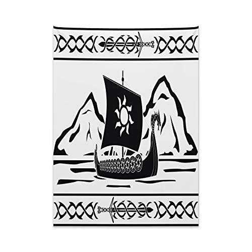 ABAKUHAUS Vikingo Tapiz de Pared y Cubrecama Suave, Marco Adornado con Drakkar, Decoración para el Cuarto, 110 x 150 cm, Blanco Negro