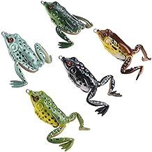 runcl Topwater Rana Señuelos, Soft Kit de señuelo de pesca con caja de aparejos para Bass Pike Snakehead Dogfish Musky (Pack de 5), 5 frog lures with legs