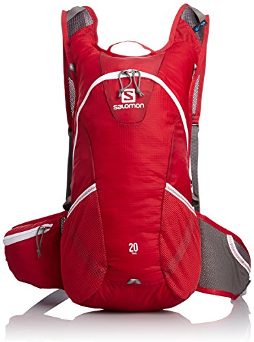 Salomon Bag Rucksack Trail 20 - Mochila, color multicolor (bright red/white), talla 48.0 x 24.0 x 18.0 cm, 16 l