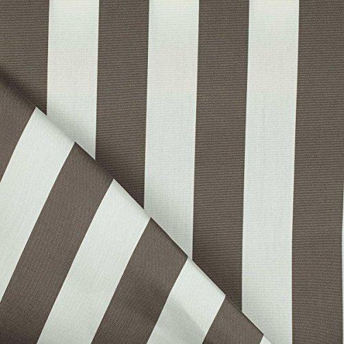 Toile outdoor tissu sunny bayadere - Largeur 160cm - Taupe & Blanc - Par 50 cm - Qualité professionnelle